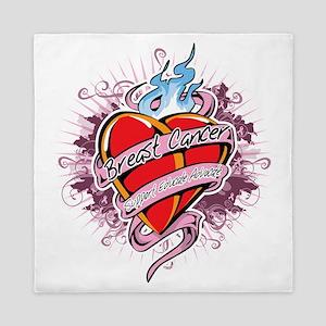 Breast-Cancer-Tattoo-Heart-blk Queen Duvet
