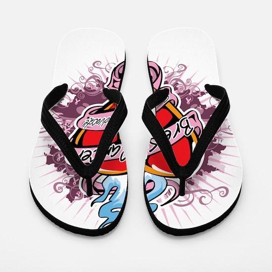 Breast-Cancer-Tattoo-Heart-blk Flip Flops