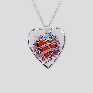 Breast-Cancer-Tattoo-Heart-bl Necklace Heart Charm
