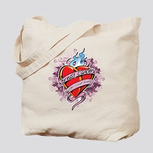 Breast-Cancer-Tattoo-Heart-blk Tote Bag