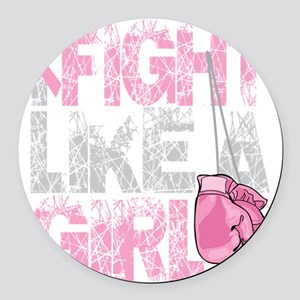 BC-Fight-Like-A-Girl-2-blk Round Car Magnet