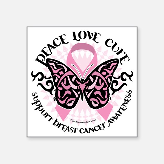 "Breast-Cancer-Butterfly-Tri Square Sticker 3"" x 3"""