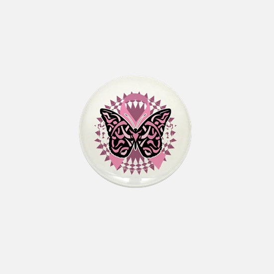 Breast-Cancer-Butterfly-Tribal-2-blk Mini Button