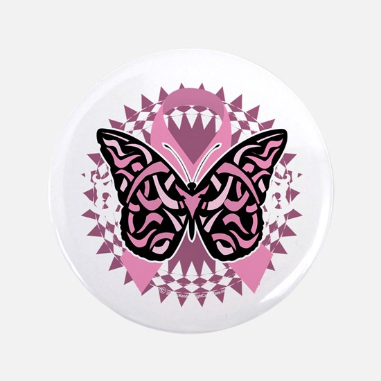 "Breast-Cancer-Butterfly-Tribal-2-blk 3.5"" Button"