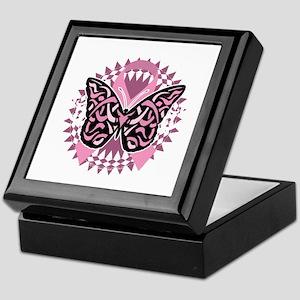 Breast-Cancer-Butterfly-Tribal-2-blk Keepsake Box