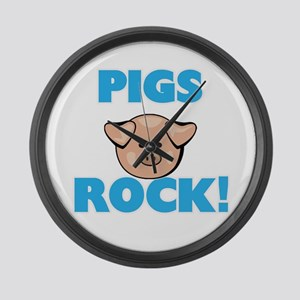 Pigs rock! Large Wall Clock