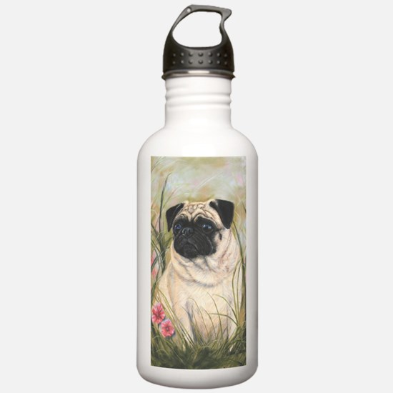 Pug by Dawn Secord Water Bottle
