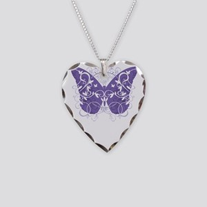 Alzheimers-Butterfly-blk Necklace Heart Charm