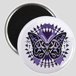Alzheimers-Butterfly-Tribal-2-blk Magnet