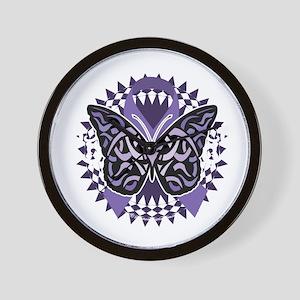 Alzheimers-Butterfly-Tribal-2-blk Wall Clock