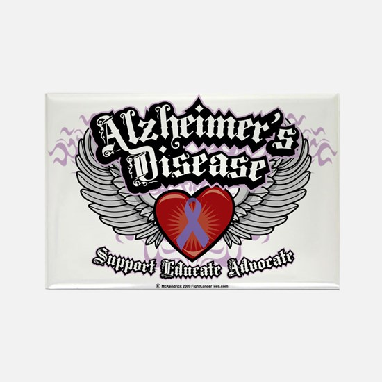 Alzheimers-Wings Rectangle Magnet