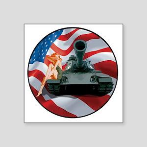 "Tank Pinup Girl Square Sticker 3"" x 3"""