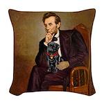 Lincoln-Black Pug Woven Throw Pillow