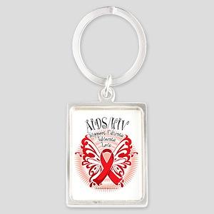 AIDS-HIV-Butterfly-3 Portrait Keychain