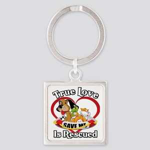 Rescued-Love-2009-blk Square Keychain