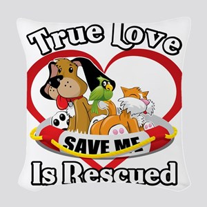 Rescued-Love-2009-blk Woven Throw Pillow