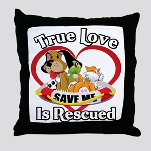 Rescued-Love-2009-blk Throw Pillow