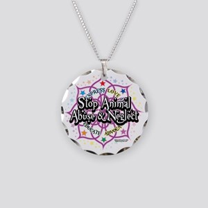 Animal-Rights-Lotus Necklace Circle Charm