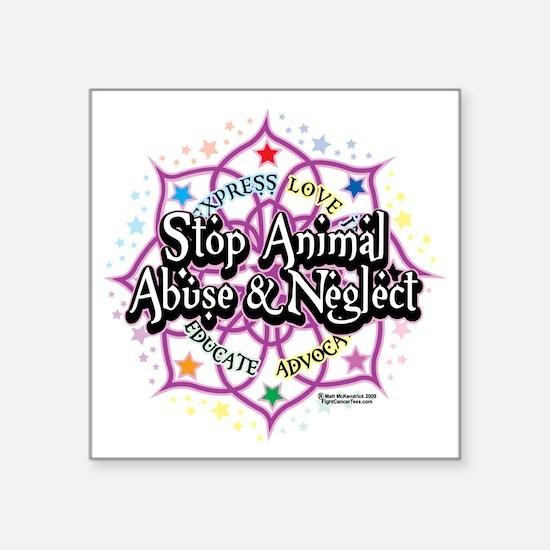 "Animal-Rights-Lotus Square Sticker 3"" x 3"""