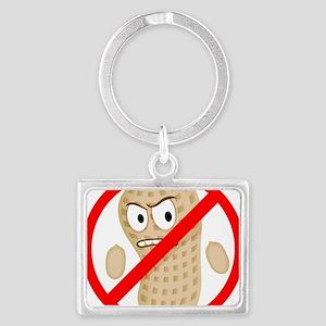 No Peanuts Food Allergy Button  Landscape Keychain