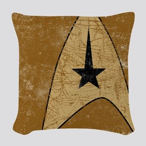 Retro Star Trek Insignia Gold Woven Throw Pillow