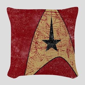 Retro Star Trek Insignia Red Woven Throw Pillow