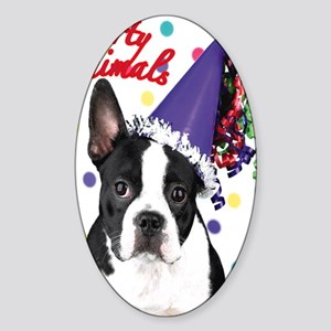 Boston Terrier Birthday Card outsid Sticker (Oval)