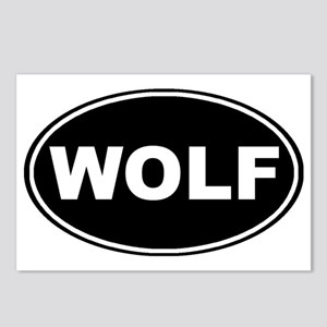 Wolf oval-black Postcards (Package of 8)