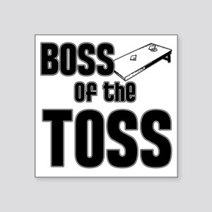 "Cornhole_Boss_Black Square Sticker 3"" x 3"""