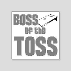 "Cornhole_Boss_Grey Square Sticker 3"" x 3"""
