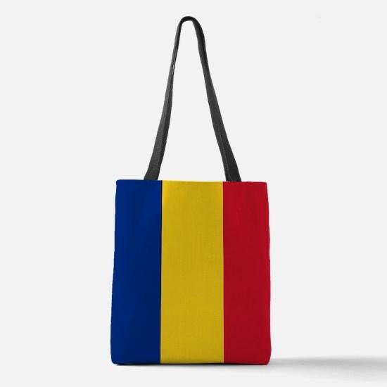 Romanian Flag Polyester Tote Bag