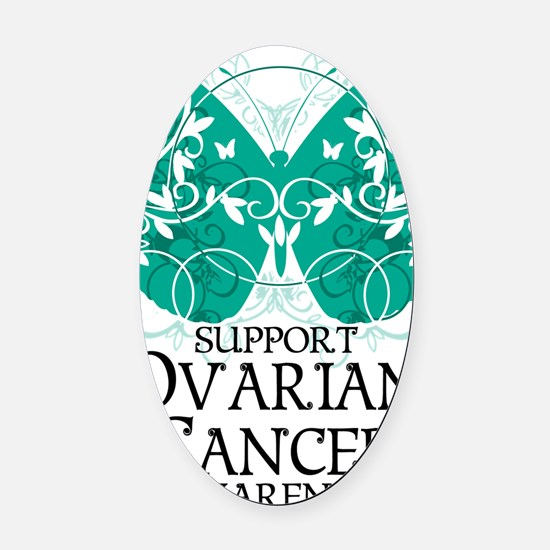 Ovarian-Cancer-Butterfly Oval Car Magnet