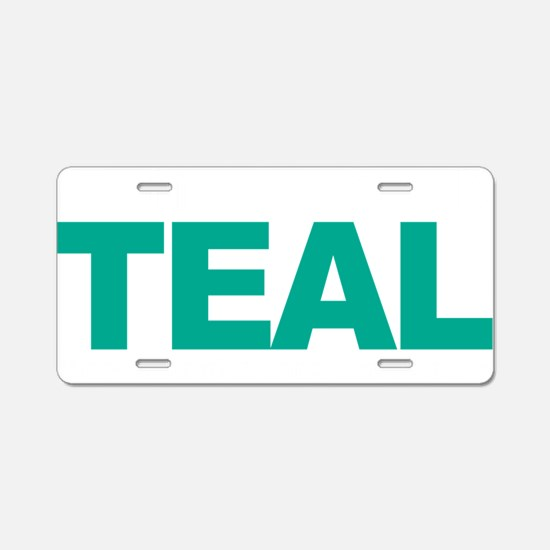 Think-TEAL-Ovarian-Cancer-b Aluminum License Plate