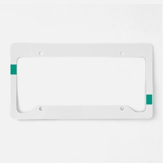 Think-TEAL-Ovarian-Cancer-blk License Plate Holder
