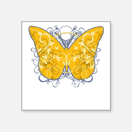 """Psoriasis-Butterfly-blk Square Sticker 3"""" x 3"""""""