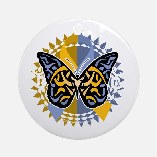 Psoriasis-Butterfly-Tribal-2-blk Round Ornament