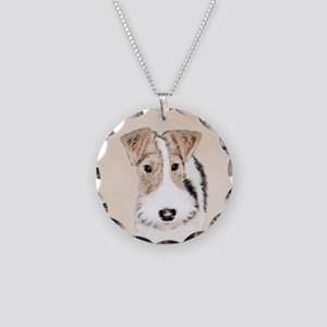 Wire Fox Terrier Necklace Circle Charm