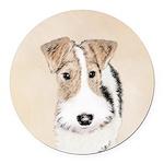 Wire Fox Terrier Round Car Magnet