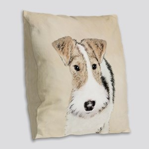 Wire Fox Terrier Burlap Throw Pillow