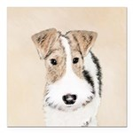 Wire Fox Terrier Square Car Magnet 3