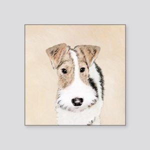 "Wire Fox Terrier Square Sticker 3"" x 3"""