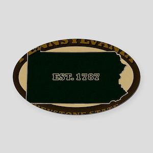 2-Pennsylvania Est 1787 Oval Car Magnet