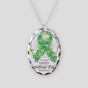 Cerbral-Palsy-Butterfly-Ribbon Necklace Oval Charm