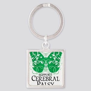 Cerebral-Palsy-Butterfly Square Keychain
