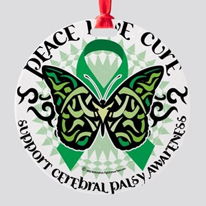 Cerebral-Palsy-Butterfly-Tribal-2 Round Ornament