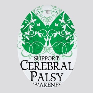 Cerebral-Palsy-Butterfly Oval Ornament