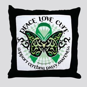Cerebral-Palsy-Butterfly-Tribal-2 Throw Pillow