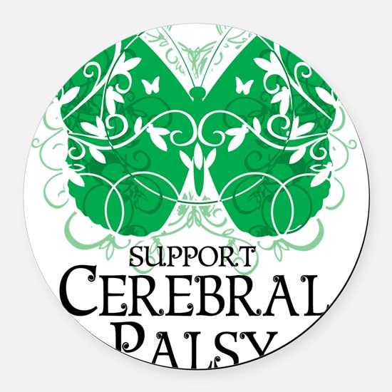 Cerebral-Palsy-Butterfly Round Car Magnet
