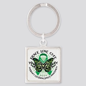 Cerebral-Palsy-Butterfly-Tribal-2 Square Keychain