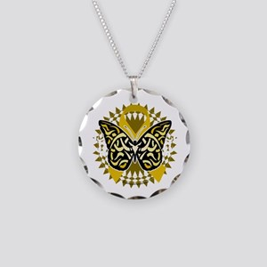 Childhood-Cancer-Butterfly-T Necklace Circle Charm